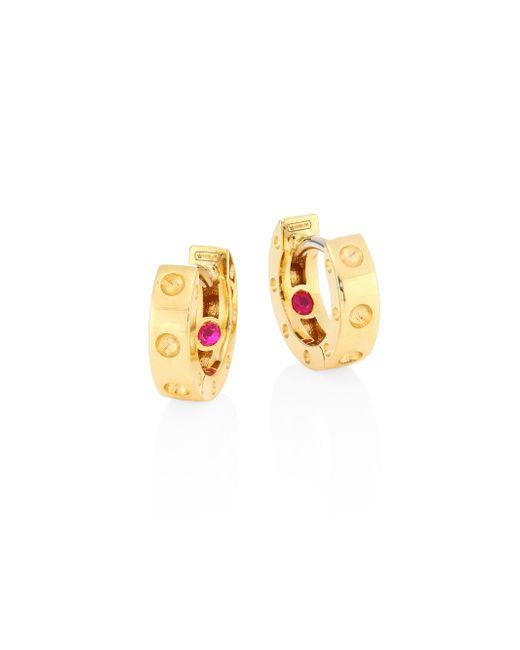 Roberto Coin   Metallic Pois Moi 18k Yellow Gold Huggie Hoop Earrings/0.28   Lyst