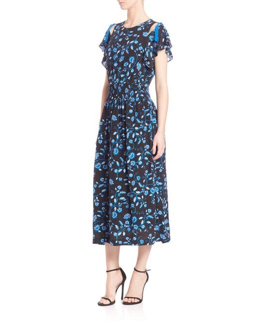 Rebecca taylor kyoto silk floral print open shoulder dress in blue save 13 lyst