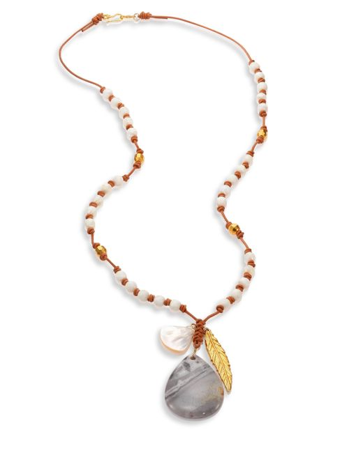 Chan Luu | Metallic Feather Charm Necklace - White Mix | Lyst