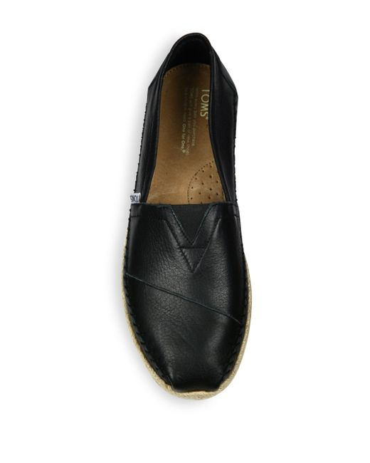 Toms Classics Espadrille Leather Slip Ons In Black For Men