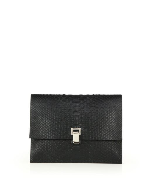Proenza Schouler | Black Small Python Lunch Bag Clutch | Lyst