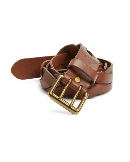 polo ralph braided vachetta leather belt in brown