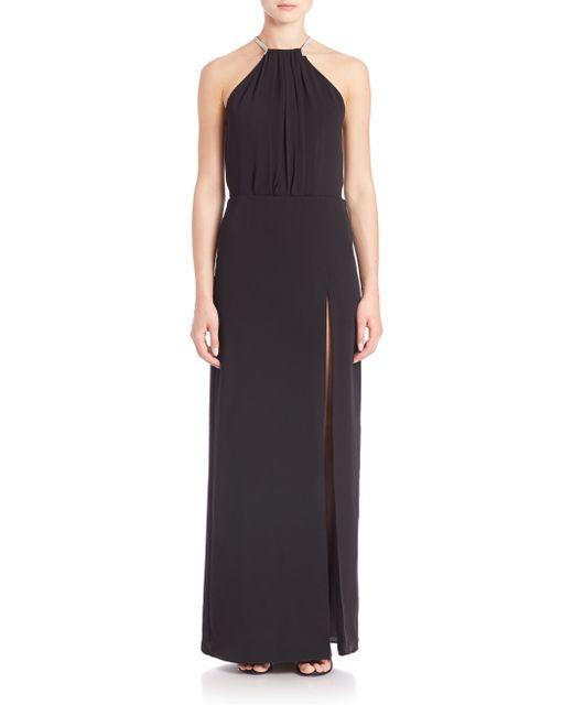 Halston | Black Cowl Neck Drape Dress | Lyst
