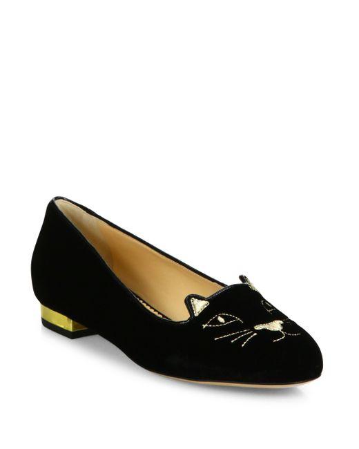 Charlotte Olympia   Black Kitty Embroidered Velvet Flats   Lyst