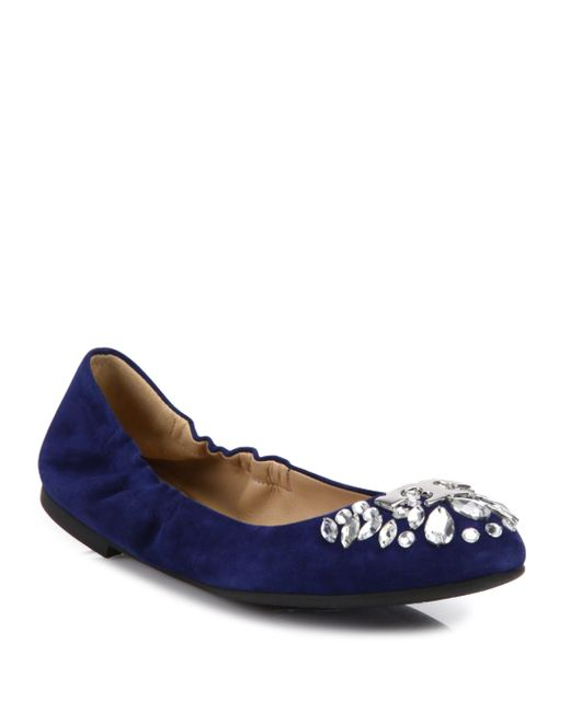 Tory Burch | Blue Delphine Crystal & Suede Ballet Flats | Lyst