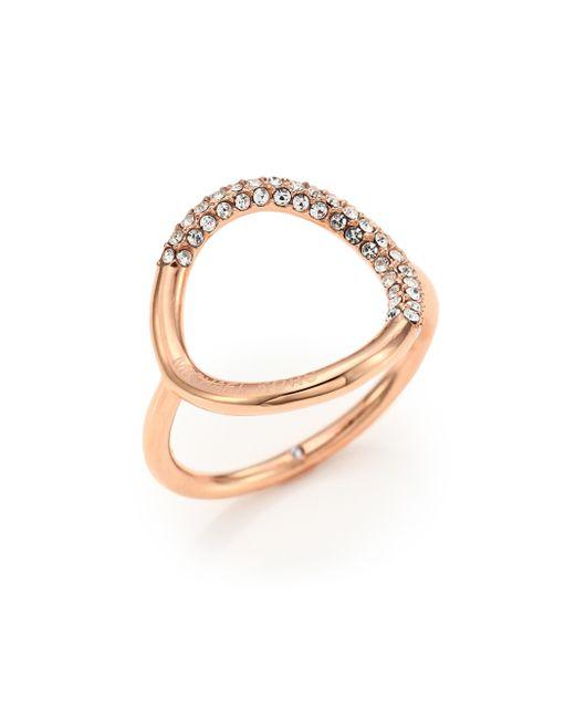 Michael Kors | Metallic Pave Circle Ring/rose Goldtone | Lyst