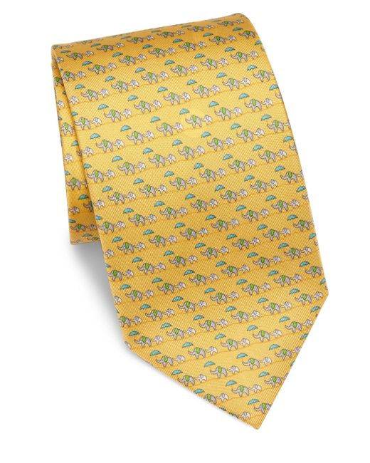 Ferragamo | Yellow Elephant Silk Tie for Men | Lyst