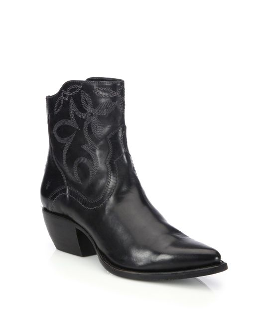 Frye Shane Embroidered Leather Ankle Boots in Black