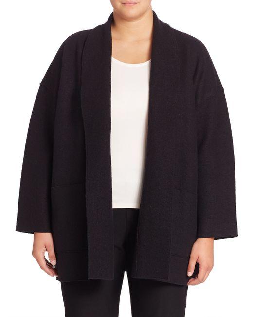 Eileen Fisher | Black Open-front Wool Jacket | Lyst