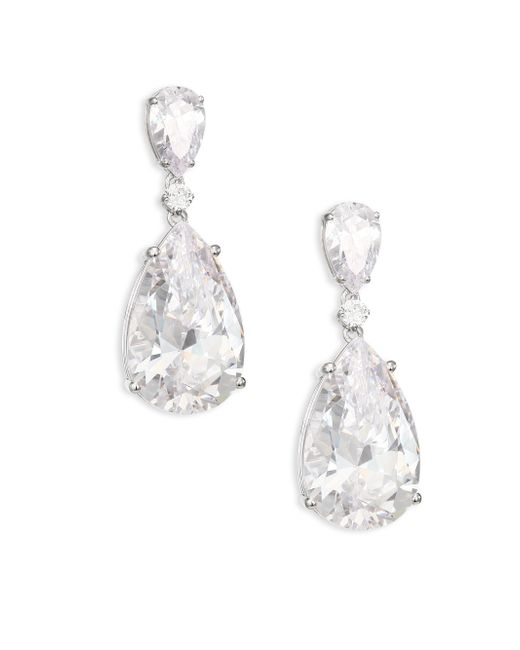 Adriana Orsini | Metallic Double Crystal Teardrop Earrings | Lyst