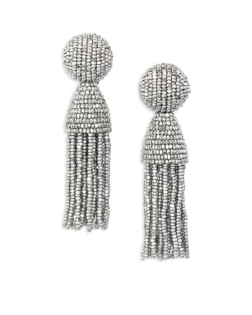 Oscar de la Renta   Metallic Short Beaded Tassel Clip-on Earrings   Lyst