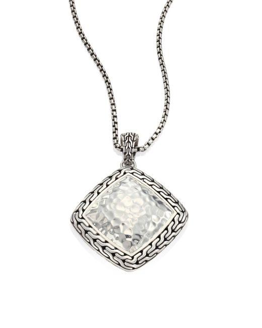 John Hardy | Metallic Classic Chain Hammered Silver Heritage Large Quadrangle Pendant Necklace | Lyst