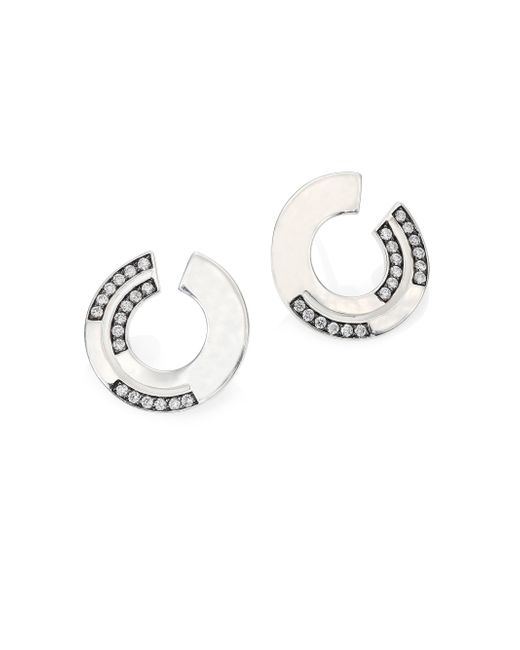 Ippolita | Metallic Sensotm Staggered Diamond Pave & Sterling Silver Disc Earrings | Lyst