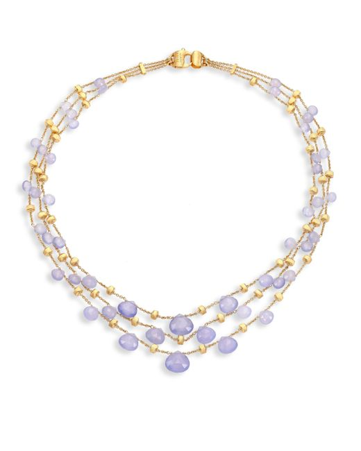 Marco Bicego | Metallic Paradise Chalcedony & 18k Yellow Gold Graduated Three-strand Necklace | Lyst