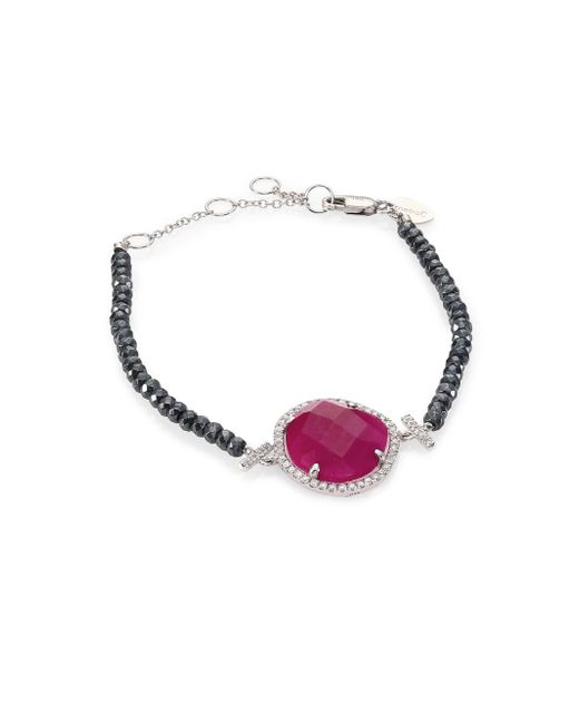 Meira T   Gray Diamond, Ruby, Silverite & 14k White Gold Bracelet   Lyst