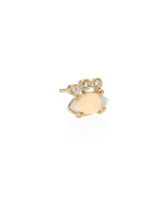 Jacquie Aiche   Metallic Diamond, White Opal & 14k Yellow Gold Single Stud Earring   Lyst