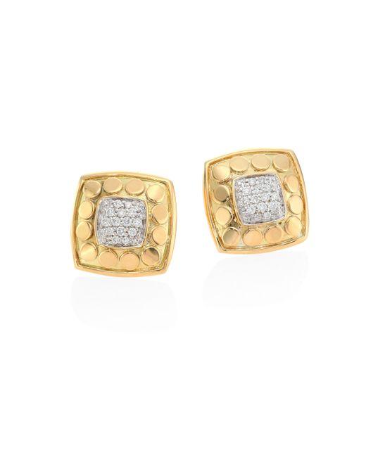 John Hardy | Metallic Dot Diamond & 18k Yellow Gold Stud Earrings | Lyst