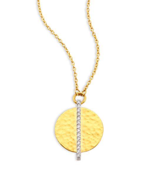 Gurhan | Metallic Lush Diamond Small 24k Yellow Gold Pendant Necklace | Lyst