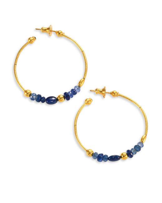 Gurhan | Delicate Rain Blue Sapphire & 24k Yellow Gold Hoop Earrings/1.5 | Lyst