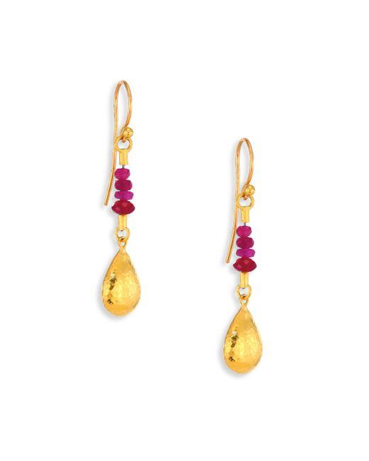 Gurhan   Metallic Delicate Rain Ruby & 24k Yellow Gold Drop Earrings   Lyst