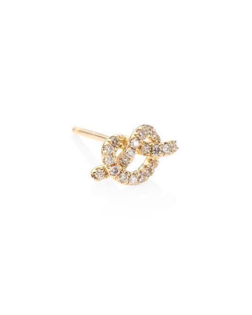 Sydney Evan | Metallic Small Bezel Evil Eye Diamond & 14k Yellow Gold Single Stud Earring | Lyst
