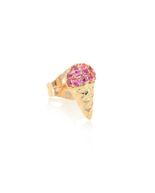Sydney Evan | Small Ice Cream Cone Pink Sapphire & 14k Yellow Gold Single Stud Earring | Lyst