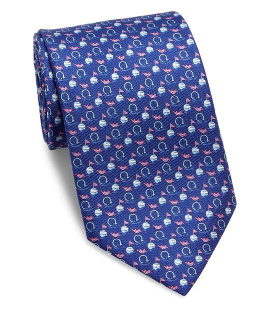 Ferragamo | Blue Gancini Print Tie for Men | Lyst