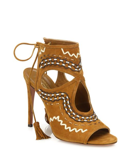 Aquazzura | Brown Sexy Thing Folk Suede Sandals | Lyst