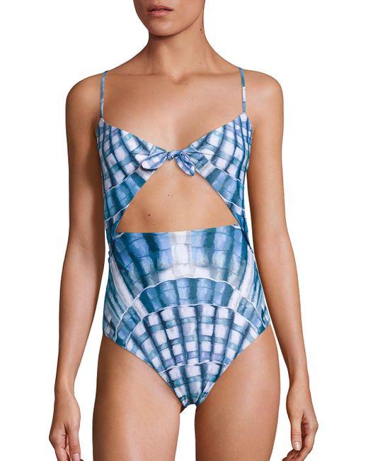 Mara Hoffman | Blue One-piece Tie Front Swimsuit | Lyst