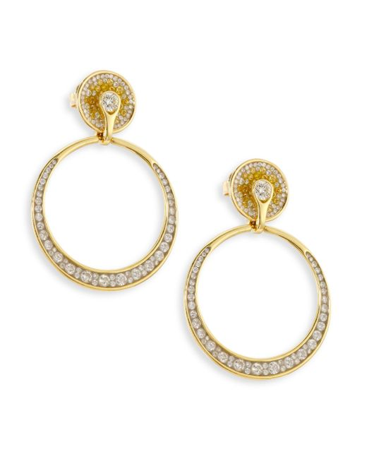 Plevé   Metallic Yellow Burst Diamond & 18k Yellow Gold Opus Hoop Earrings/1   Lyst