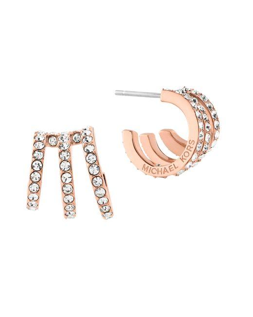 Michael Kors | Metallic Modern Brilliance Crystal Pave Huggie Earrings/rose Goldtone | Lyst