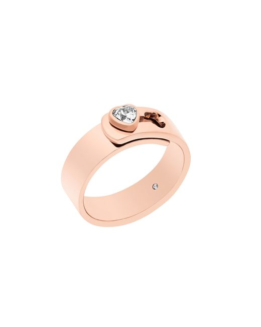 Michael Kors | Pink Modern Brilliance Crystal Heart Ring/rose Goldtone | Lyst