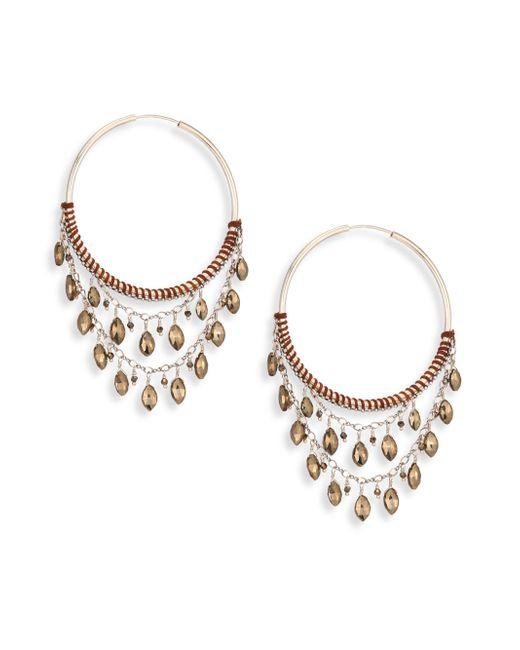 Chan Luu   Metallic Pyrite & Sterling Silver Hoop Earrings/2   Lyst