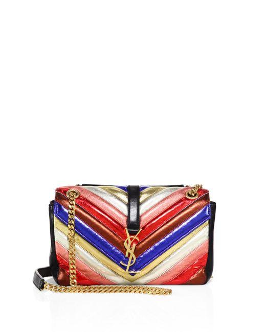 Saint Laurent | Red Medium College Monogram Metallic Leather Shoulder Bag | Lyst