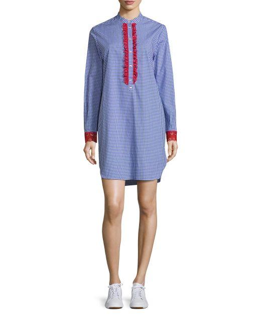 Tommy hilfiger gingham shirtdress in blue lyst for Tommy hilfiger gingham dress shirt