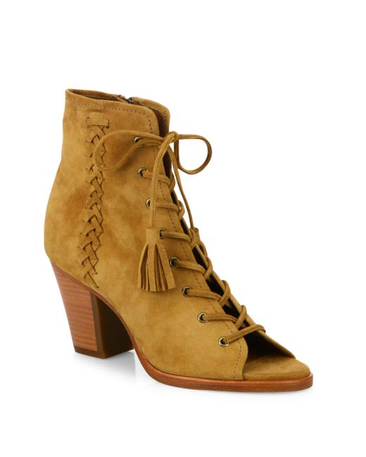 Frye | Natural Dani Whipstitch Suede Lace-up Booties | Lyst