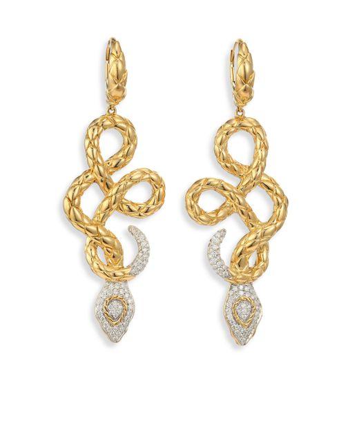 John Hardy | Metallic Legends Cobra Diamond & 18k Yellow Gold Drop Earrings | Lyst