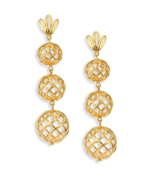 Lele Sadoughi | Metallic Tiered Pineapple Clip-on Drop Earrings | Lyst