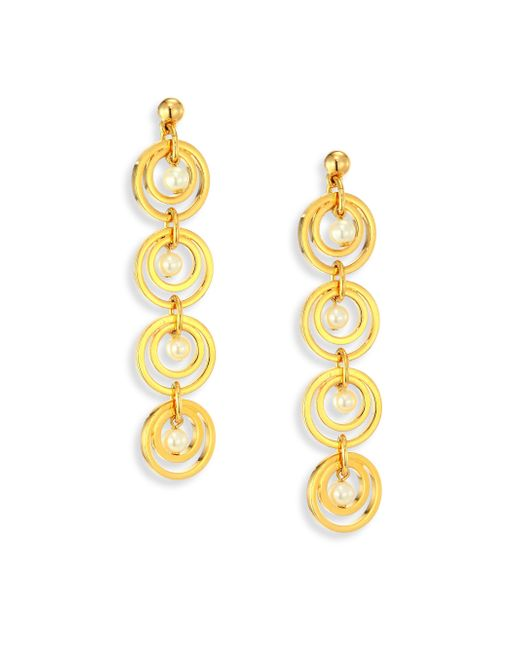 Lele Sadoughi | Metallic Tiered Hoop & Faux-pearl Drop Earrings | Lyst