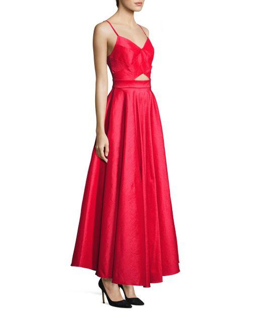Laundry by Shelli Segal | Red Taffeta Cutout Gown | Lyst