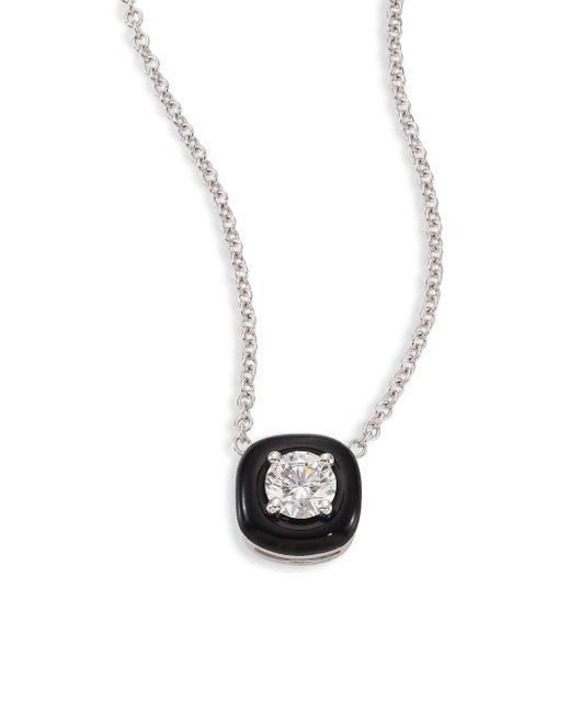 Nikos Koulis   Metallic Oui Diamond, Enamel & 18k White Gold Pendant Necklace   Lyst