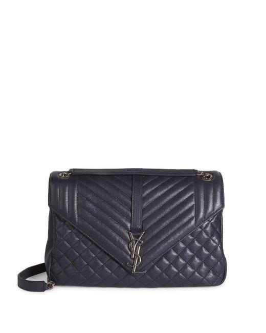 Saint Laurent   Black Large Monogram Tri-quilted Leather Envelope Chain Shoulder Bag   Lyst