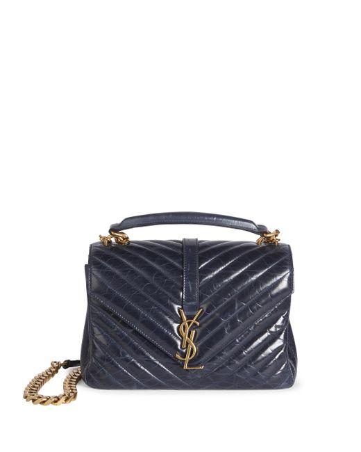 Saint Laurent | Blue Monogram Medium Wax Glazed Leather College Bag | Lyst