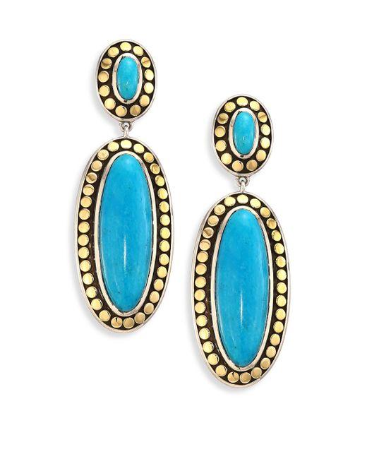 John Hardy   Blue Dot Turquoise & 18k Yellow Gold Oval Drop Earrings   Lyst