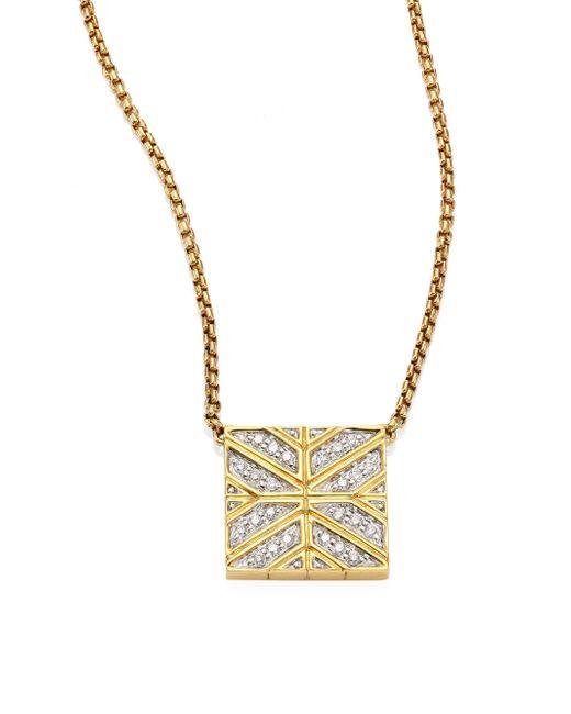 John Hardy | Metallic Modern Chain Diamond & 18k Yellow Gold Pendant Necklace | Lyst