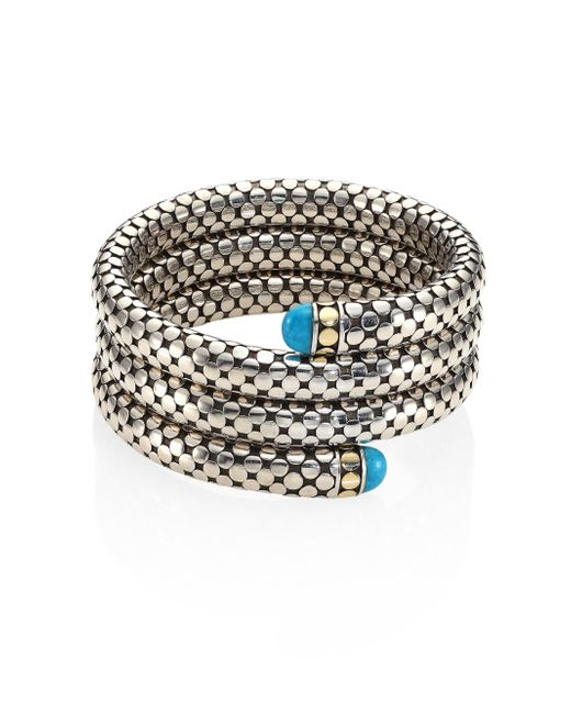 John Hardy   Metallic Dot Turquoise, 18k Yellow Gold & Sterling Silver Triple Coil Bracelet   Lyst