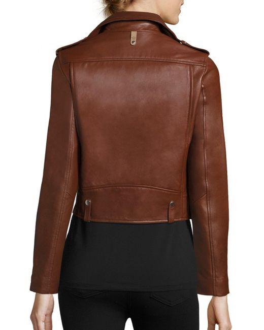 Mackage Baya Cropped Leather Moto Jacket In Brown Lyst