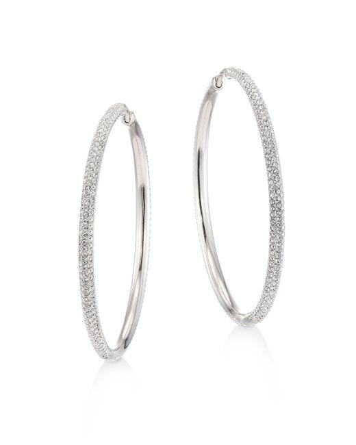 Adriana Orsini   Metallic Pave Hoop Earrings/2   Lyst