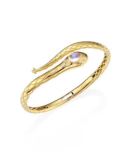 Temple St. Clair | Metallic Serpent Bella Diamond, Royal Blue Moonstone & 18k Yellow Gold Bangle | Lyst