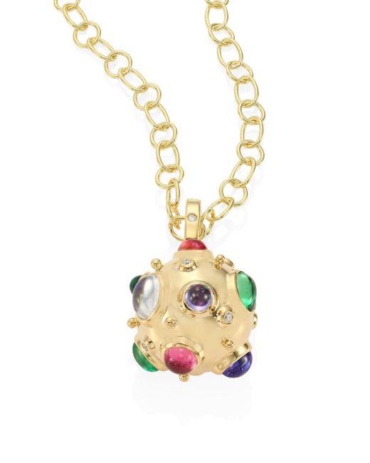 Temple St. Clair   Metallic Cosmos Diamond, Semi-precious Multi-stone & 18k Yellow Gold Pendant   Lyst